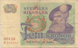 Suède Sweden : 5 Kronor 1974 Mauvais état Courant - Svezia