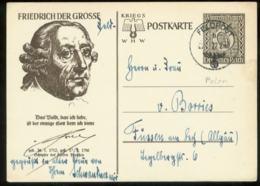 WW II WHW Ganzsache Karte Friedrich Der Große , Alter Fritz: Gebraucht Polen Feldpost , Kielce - Füssen 1940, Bedarfse - Duitsland