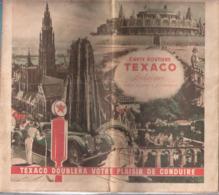Publicité-Texaco Motor Oil+/-1935-Carte Routière-Belgique-GD-Luxembourg+cartes De Villes-Liège-Namur-Charleroi-Malines.. - Carte Stradali