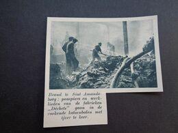 """Origineel Knipsel ( 5426 ) Uit Tijdschrift """" De Stad """"  1937 :  Brand Sint - Amandsberg  Pompier - Alte Papiere"""