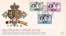 B01-173 BELG.1960 11691171 FDC 88 Bruxelles Brussel Koninklijk Huwelijk  Mariage Royal 1.89€ - Maximum Cards