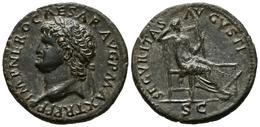 NERON. As. (Ae. 11,50g/29mm). 67 D.C. Lugdunum. (RIC 597). EBC. Limpiada. Raro - 1. The Julio-Claudians (27 BC To 69 AD)