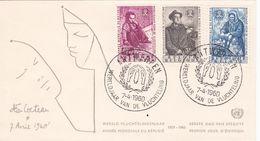 B01-173 BELG.1960 1125-1127 FDC Antwerpen Anvers Wereldjaar Vd Vluchteling Année Mondiale Du Réfugié  2.5€ - Maximum Cards