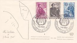 B01-173 BELG.1960 1125-1127 FDC Bruxelles BrusselLiège  Wereldjaar Vd Vluchteling Année Mondiale Du Réfugié  2.5€ - Maximum Cards