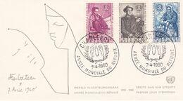 B01-173 BELG.1960 1125-1127 FDC Charleroi  Wereldjaar Vd Vluchteling Année Mondiale Du Réfugié  2.5€ - Maximum Cards