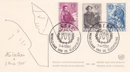 B01-173 BELG.1960 1125-1127 FDC Gent  Wereldjaar Vd Vluchteling Année Mondiale Du Réfugié  2.5€ - Maximum Cards