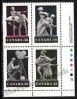 Canada 1989 Yvert 1111-14, Art. Paper Figures. Film. Theatre, Dance & Music - Block 4 W Border - MNH - Nuevos