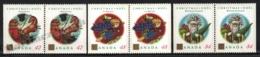 Canada 1992 Yvert 1289a-91a, Christmas. Jouluvana, Befana & Weihnachtsmann - Pairs 3 Perforated Sides - MNH - 1952-.... Regering Van Elizabeth II
