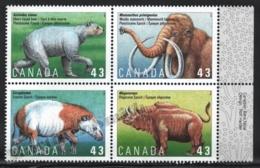 Canada 1994 Yvert 1386-89, Paleontology. Prehistoric Fauna. Mammals - Block 4 W Right Border - MNH - 1952-.... Regering Van Elizabeth II