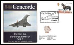 0346 Concorde British Airways 19/9/1978 Lettre The Bell Vol Charter Flight Airmail Cover Luftpost - Concorde