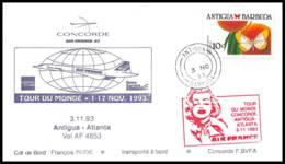1246 Concorde 1993 Antigua Atlanta Usa Barbuda Lettre Tour Du Monde Flight Airmail Cover Luftpost - Concorde