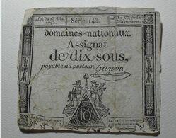 1793 - France - Assignat DIX SOUS, LOI DU 23 Mai 1793, L 'AN 2 De La République - Assignats