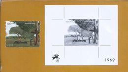 Black Proof Of Europa Cept 2011 Stamp. Pigs. Cork Trees. Cork. Acorn. Zwart Bewijs Van De Europa. Kurk. Eikel. Varkens. - Umweltschutz Und Klima