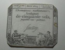 1793 - France - Assignat CINQUANTE SOLS, LOI DU 23 Mai 1793, L 'AN 2 De La République - Assignats