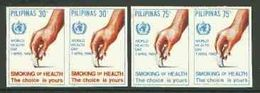 Philippines 1980, World Day Health, Against Smoke, 2val In Pair IMPERFORATED - Droga