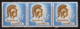 GB 1951- 6d National Savings Cinderella Stamp In Strip Of 3. - Cinderella