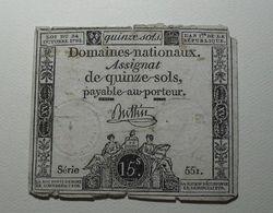 1792 - France - Assignat De QUINEZ SOLS, LOI DU 24 OCTOBRE 1792, L 'AN 1 De La République - Assignats