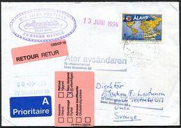 "(1992) Aland Schiffspost Silja Line ""M/S SILJA FESTIVAL"" , Stempel VASA VAASA NAVIRE Aus 1994, Retourvermerke, Mi. 55 - Ålandinseln"