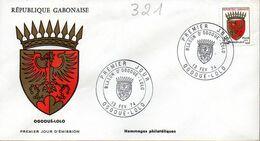 GABON 0321 Fdc Ogooué-Lolo, Aigle, Couronne, Coat Of Arm, Blason Cachet Illustré - Covers