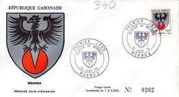 GABON 0340 Fdc Moanda, Aigle, Coat Of Arm, Blason Cachet Illustré - Covers