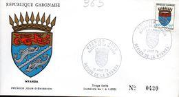 GABON 0365 Fdc Nyanga, Poisson, Lion, Couronne, Coat Of Arm, Blason Cachet Illustré - Covers