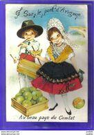 Carte Postale Fantaisie Brodée Tambourinaire Au Beau Pays Du Comtat Avignon - Brodées