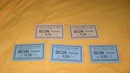 LOT DE 5 COUPONS ALIMENTATION GENERALE A. COURT CRAPONNE SUR ARZON BON D'EPARGNE 3 DE 0,20 N.F ET 2 DE 0,10 NF.. - Monétaires / De Nécessité
