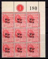 British Guiana GV 1918 War Tax Overprint On 2c Red, Plate 1 Marginal Block Of 9, MNH, SG 271 (WI2) - Guyana Britannica (...-1966)