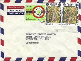 Ghana 1974 Accra Christ Carrying The Cross By Thomas De Coloswar Painting Traffic Drive Right  Cover - Ghana (1957-...)