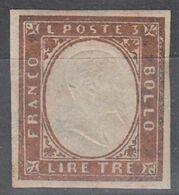 SARDEGNA 1861 LIRE 3 RAME VIVO MLH SASSONE N.18A SPLENDIDO - Sardaigne