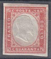 SARDEGNA 1863 40 CENT ROSA VERMIGLIO SMORTO MNH SASSONE N.16Fa SPLENDIDO OTTIMI MARGINI - PERIZIATO - Sardaigne