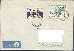 POLAND POSTAL USED AIRMAIL COVER TO PAKISTAN SPORTS GAMES SPORT - Airmail