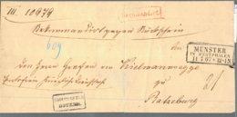 1867 MÜNSTER IN WESTPHALEN Bfhülle M. Beamtenstempel An Von Kielmannsegge - Recomandirt - Allemagne