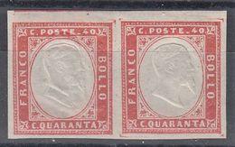 SARDEGNA 1863 40 CENT ROSA VERMIGLIO SMORTO COPPIA DOPPIA EFFIGE MNH SASSONE N.16Fa SPLENDIDI  MARGINI ECCEZ - PERIZIATI - Sardaigne