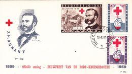 B01-174 BELG.1959 1096 1097 1098 1099 1100 & 1101 FDC's   Henri Dunant , La Croix-RougeHet Rode Kruis Belg. 11€ - Maximum Cards