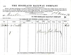 HIGHLAND Railway 1876 Cattle Transport Receipt From INVERNESS - Regno Unito