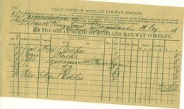 GREAT NORTH OF SCOTLAND Railway 1878 Monthly Invoice For Goods Transport - Regno Unito