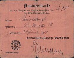 Ausweiskarte Autorisation De Circuler à Berlin Allemagne 28 Juin 1919 - Titres De Transport