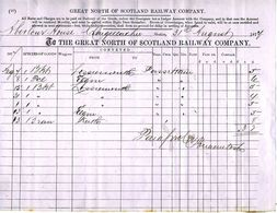 GREAT NORTH OF SCOTLAND Railway 1877 Monthly Invoice For Goods Transport - Regno Unito
