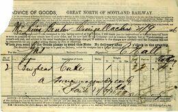 GREAT NORTH OF SCOTLAND Railway 1876 Advice Of Goods Notice - Regno Unito