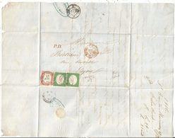 SARDE SARDEGNA N°7 X2+13 DEFAUTS LETTRE ST JEAN DE MAUR 27 JUIL 1856  SAVOIE POUR LYON AFFR RARE - Sardaigne