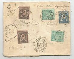 SAGE 25C N°97X2+5CX2 N°75+ 101 COLLE SUR GRIFFE CHARGE LETTRE CHARGE PARIS 53 R PIERRE GUERIN 11 OCT 1893 + DESCRIPTIF - Marcophilie (Lettres)