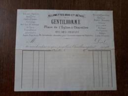 L24/187 Ancienne Facture . Charolles . Allumettes. Gros Et Détails . Gentilhomme . Place De L'Eglise - 1800 – 1899