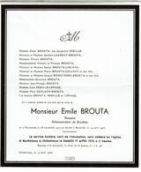 Faire Part De Décès - Emile BROUTA - Brasseur - Farciennes 1927 / 1976 - Voir Scan - Obituary Notices