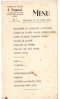 AUBERGE DE CONDE LA FERTE SOUS JOUARRE MENU DE 1961 - Menükarten