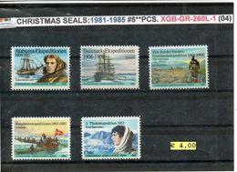 DENMARK-GREENLAND#CHRISTMAS SEALS#POLAR EXPLORERS#1981-1985# 5 PCS#MNH*/**# (XGB-GR-260L-1 (04) - Polar Exploradores Y Celebridades