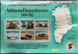 DENMARK-GREENLAND#CHRISTMAS SEALS#POLAR EXPLORERS#1981# 6 PCS-MS#Mnh*/**# (XGB-GR-260L-1 (05) - Polar Exploradores Y Celebridades