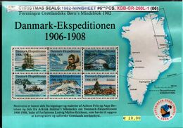 DENMARK-GREENLAND#CHRISTMAS SEALS#POLAR EXPLORERS#1981# 6 PCS-MS#Mnh*/**# (XGB-GR-260L-1 (06) - Polar Exploradores Y Celebridades