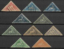 CAP DE BONNE  ESPERANCE   -    L O T  -   10 Triangulaires Oblitérés .  FAUX  /  FALK  /  FORGERIES. - South Africa (...-1961)