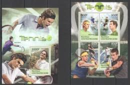 CA647 2013 CENTRAL AFRICA CENTRAFRICAINE SPORT TENNIS CHAMPIONS FEDERER NADAL DJOKOVIC KB+BL MNH - Tennis
